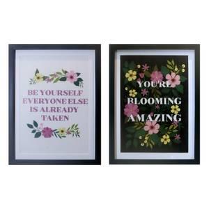 Floral Slogan Framed Prints - Set of 2