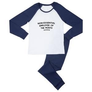Non-Essential Employee Men's Pyjama Set - White/Navy