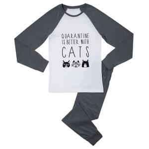 Quarantine Is Better With Cats Women's Pyjama Set - White/Grey