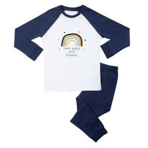 Treat People With Kindness Kids' Pyjamas - White/Navy