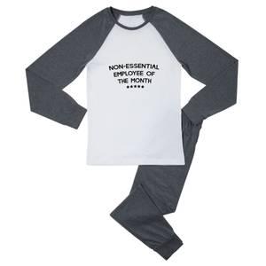 Non-Essential Employee Men's Pyjama Set - White/Grey