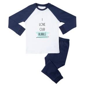I Love Our Bubble Kids' Pyjamas - White/Navy
