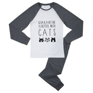 Quarantine Is Better With Cats Men's Pyjama Set - White/Grey