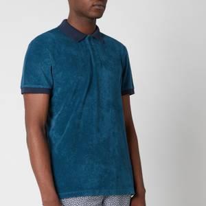 Orlebar Brown Men's Jarrett Towelling Contrast Rib Collar Polo Shirt - Blue Slate