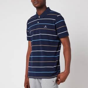 GANT Men's Breton Stripe Pique Polo Shirt - Navy/White
