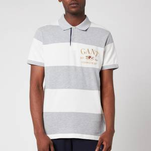 GANT Men's Flag Crest Barstripe Pique Polo Shirt - Grey Melange