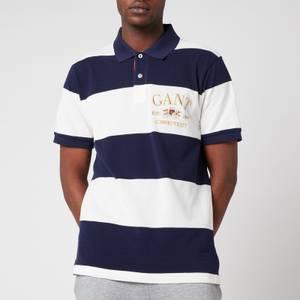 GANT Men's Flag Crest Barstripe Pique Polo Shirt - Classic Blue