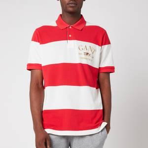GANT Men's Flag Crest Barstripe Pique Polo Shirt - Bright Red