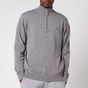 GANT Men's Classic Cotton Half Zip Jumper - Dark Grey Melange