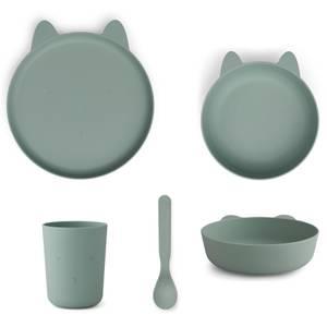Liewood Paul Kids' Tableware Set - Rabbit peppermint