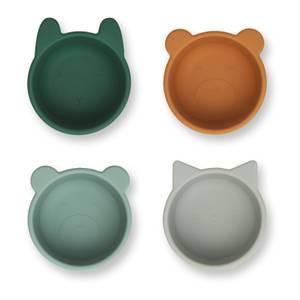 Liewood Malene Kids' Silicone Bowl - Green Multi Mix (4 Pack)