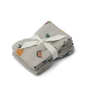 Liewood Lewis Kids' Muslin Cloth - Fruit Dove Blue (2 Pack)