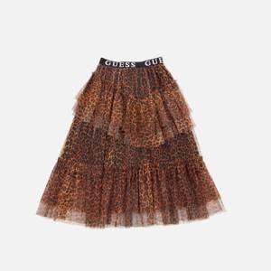Guess Girls' Mesh Long Skirt - Leopard Combo
