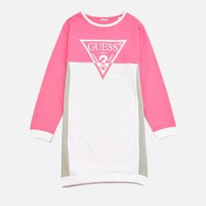Guess Girls' Logo Dress - White Pink Combo
