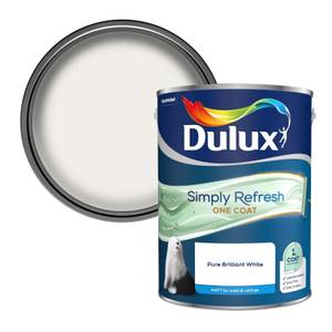 Dulux Simply Refresh One Coat Matt Emulsion Paint - Pure Brilliant White - 5L