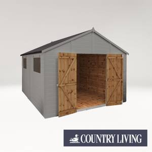 Country Living Sibson 12 x 10 Premium Pressure Treated Shiplap T&G Modular Workshop Painted + Installation - Thorpe Towers
