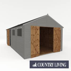 Country Living Sibson 20 x 10 Premium Pressure Treated Shiplap T&G Modular Workshop Painted + Installation - Thorpe Towers