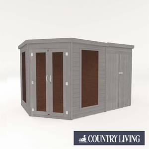 Country Living Ribble 7 x 7 Premium Corner Summerhouse With Side Shed Painted + Installation - Thorpe Towers