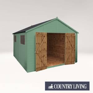 Country Living Sibson 12 x 10 Premium Pressure Treated Shiplap T&G Modular Workshop Painted + Installation - Aurora Green