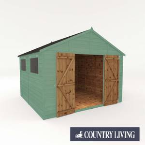 Country Living Sibson 10 x 10 Premium Pressure Treated Shiplap T&G Modular Workshop Painted + Installation - Aurora Green