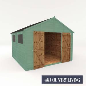 Country Living Sibson 10 x 10 Premium Pressure Treated Shiplap T&G Modular Workshop Painted + Installation - Aurora Green