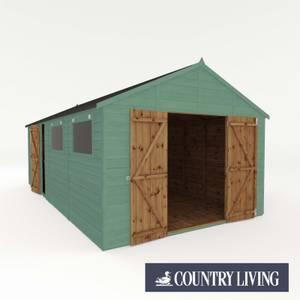 Country Living Sibson 20 x 10 Premium Pressure Treated Shiplap T&G Modular Workshop Painted + Installation - Aurora Green