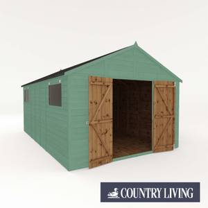Country Living Sibson 16 x 10 Premium Pressure Treated Shiplap T&G Modular Workshop Painted + Installation - Aurora Green
