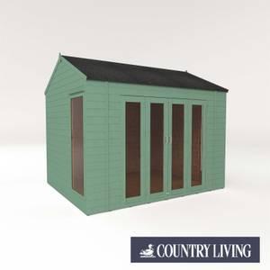 Country Living Hawksworth 10 x 8 Summerhouse Painted + Installation - Aurora Green