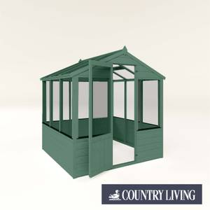 Country Living Kelham 6 x 6 Traditional Greenhouse Painted + Installation - Aurora Green