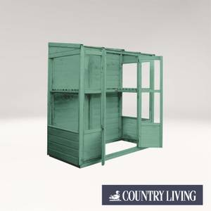 Country Living Durlston 6 x 3 Traditional Tall Wall Greenhouse Painted + Installation - Aurora Green