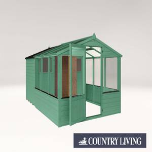 Country Living Grassthorpe 10 x 6 Traditional Apex Greenhouse Combi Shed Painted + Installation - Aurora Green