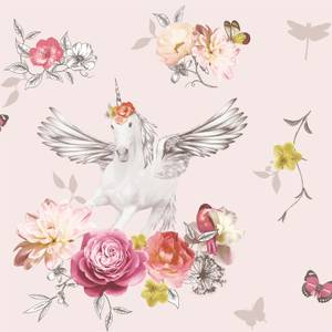 Arthouse Anastasia Floral Unicorn Smooth Glitter Pink Wallpaper