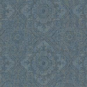 Grandeco Boutique Clarence Saran Blue Wallpaper