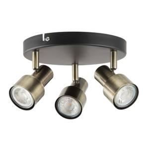 Noah 3 Lamp Spotlight, Plate, Black/Antique Brass