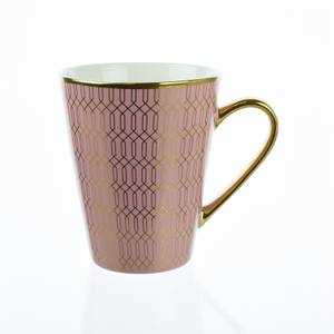 Porcelain Conical Mug in Pink and Gold Geo