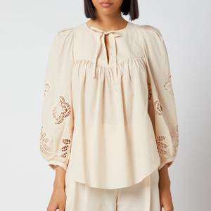 See by Chloé Women's Cotton Voile & Guipure Blouse - Macadamia Brown
