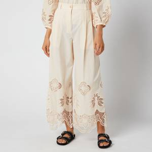 See by Chloé Women's Cotton Voile & Guipure Trousers - Macadamia Brown