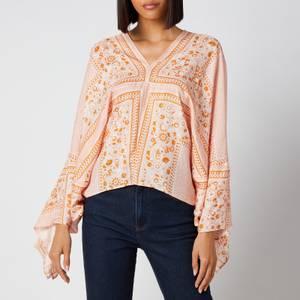 See by Chloé Women's Portobello On Light Fluid Silk Blouse - Orange - White
