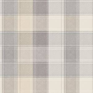 Arthouse Country Check Tartan Smooth Grey and Yellow Wallpaper