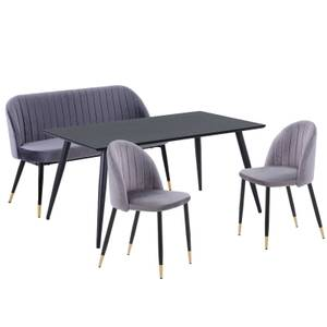 Illona 4 Seater Dining Set - 2 Chairs & 1 Bench - Grey