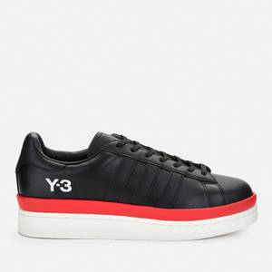 Y-3 Men's Hicho Leather Low Top Trainers - Black/Off White/Red