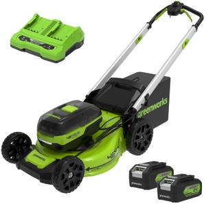 48v 46cm Self Propelled Lawnmower with Two 24v 4Ah batteries & 2A Dual Charger