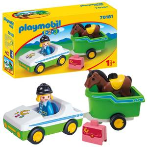 Playmobil 1.2.3 Car with Horse Trailer for Children 18 Months+ (70181)