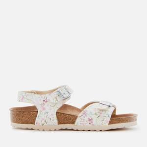 Birkenstock Rio Plain Sandals - Watercolor Flower White