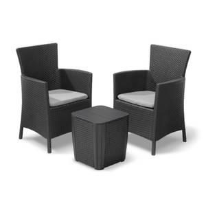 <p>Keter Iowa Rattan Balcony Outdoor Garden Furniture Set </p><p>- Graphite with Grey Cushions</p>