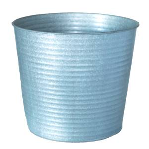 Haxbury Ribbed Round Pot - Galvanised - 26cm