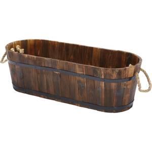 Wooden Trough in Burnt Brown - 45cm