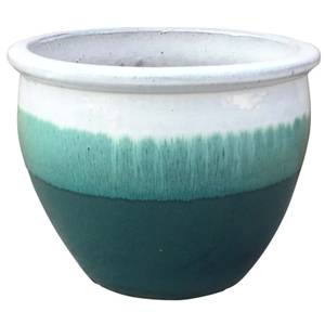 Gradina Round Terracotta Glaze Garden Plant Pot in Ombre - 22cm