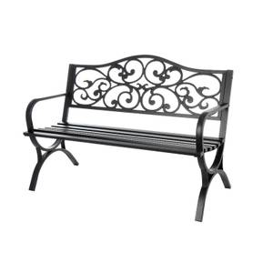 Metal Steel Ornate Bench in Black