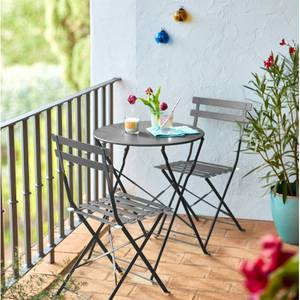 Lazio Metal Bistro Set Grey